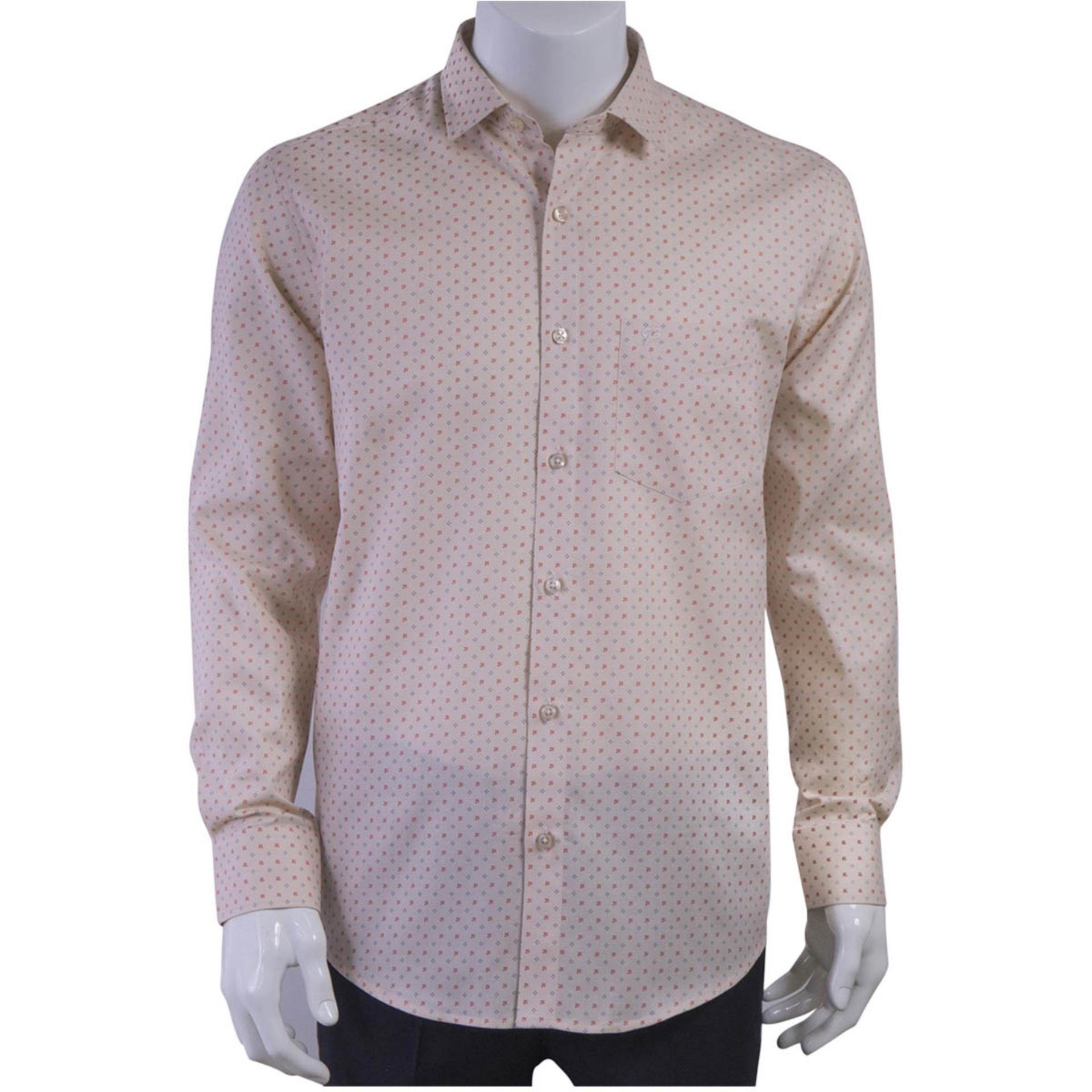 8079af787c3 Arvind Cream Print Cotton Long Sleeves Formal Shirt for Men RF 2347