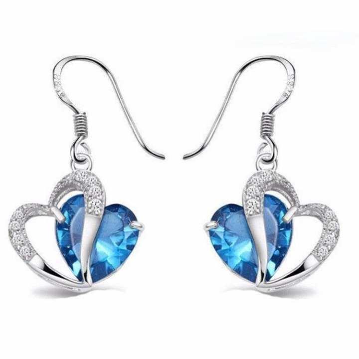 Blue stone Heart Shaped Earrings