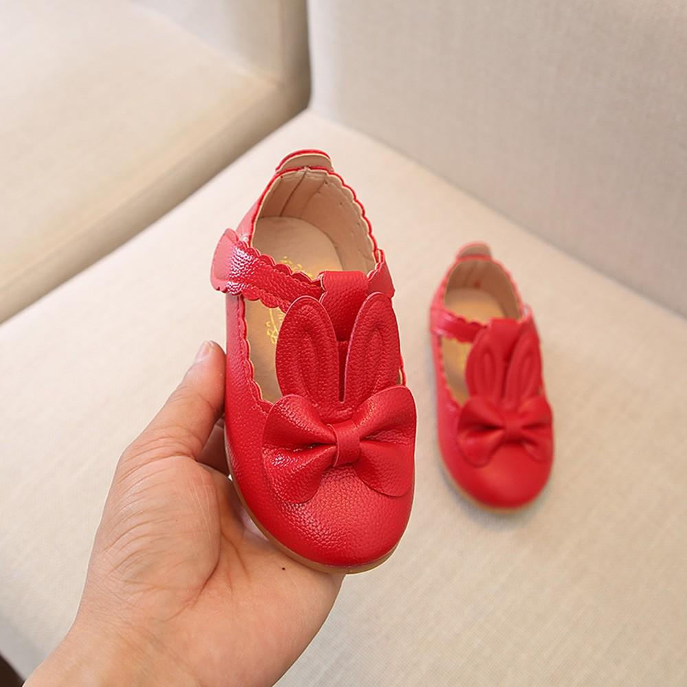 Child Kid Girls Rabbit Bowknot Leather Shoes Wave Princess Single Party Shoes