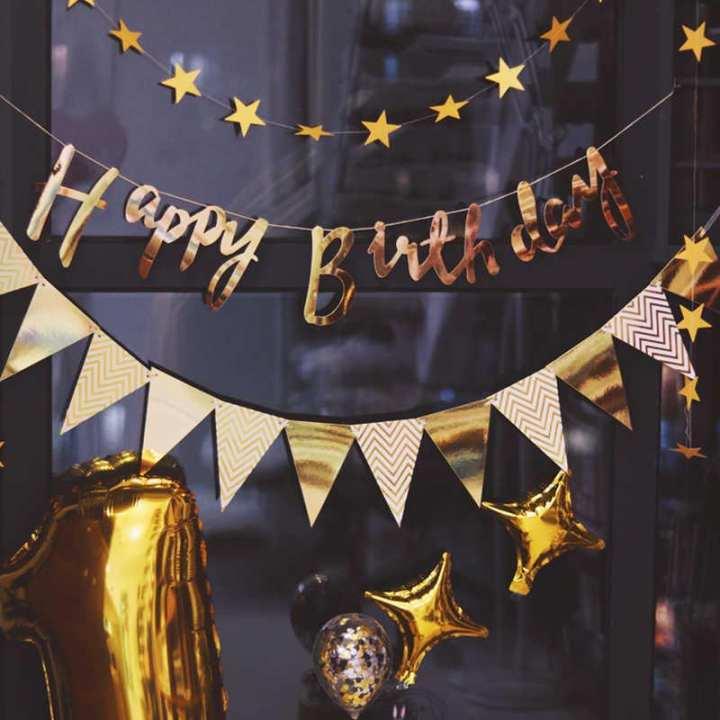 Gold Silver Glitter Happy Birthday Banner