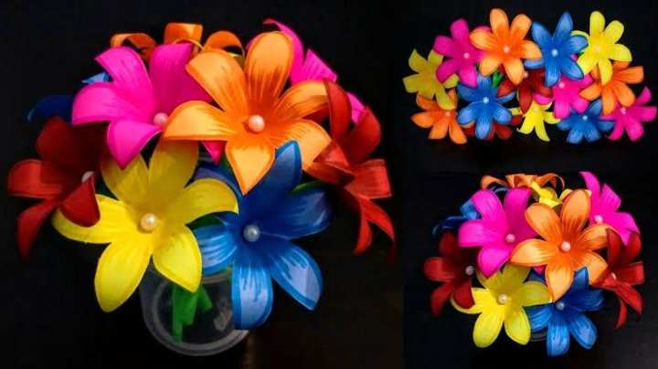 Colorful paper flowers for vase- Random
