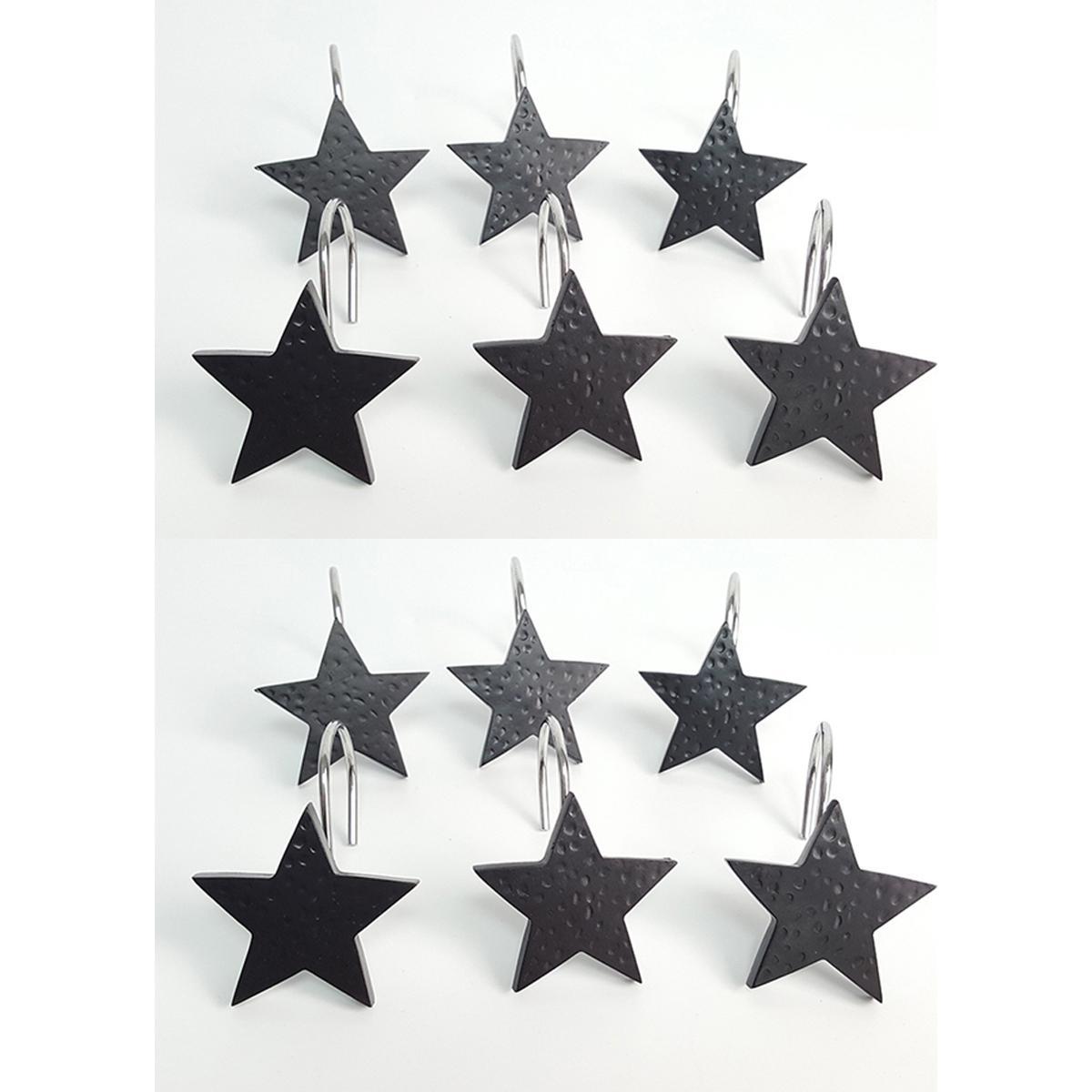12pcs Black Star Shower Curtain Hooks Hanging Hook Bathroom Decor