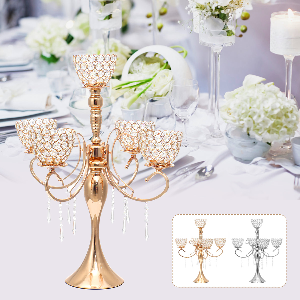 Gold Silver Candle Holders Furniture Wedding Decoration Metal Crystal Centerpiece Dining Table Candelabra Stand Home Decor Mother Day Silver Buy Online At Best Prices In Bangladesh Daraz Com Bd