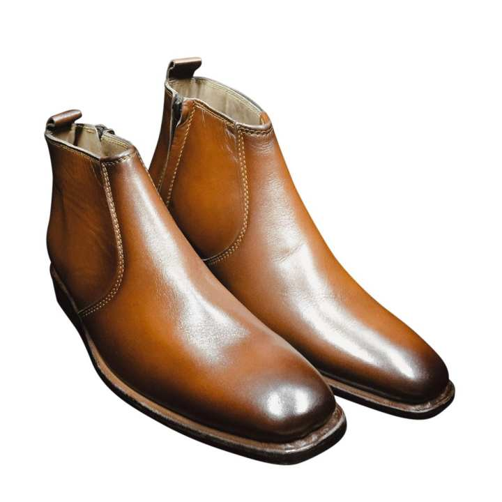 Brown Leather Plain Chain Boots for Men