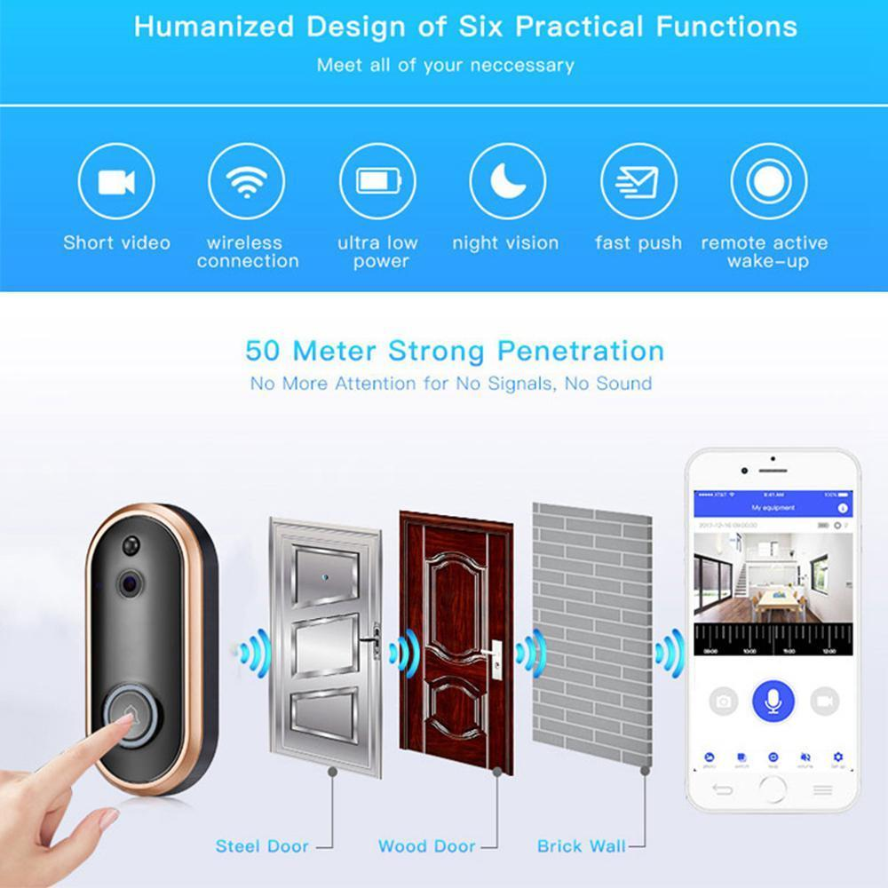 2018 New Smart Video Doorbell Wireless Home Security Anti-Theft Camera with  Indoor Chime, 8G SD Card, 2-Way Talk 720P, Night Vision, PIR Detection,