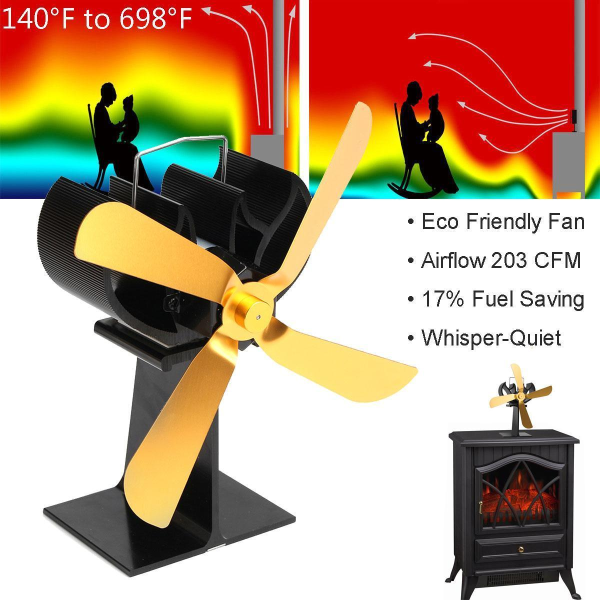 4-Blade Heat Powered Wood Stove Fan Ultra Quiet Fireplace Wood Burning Gold