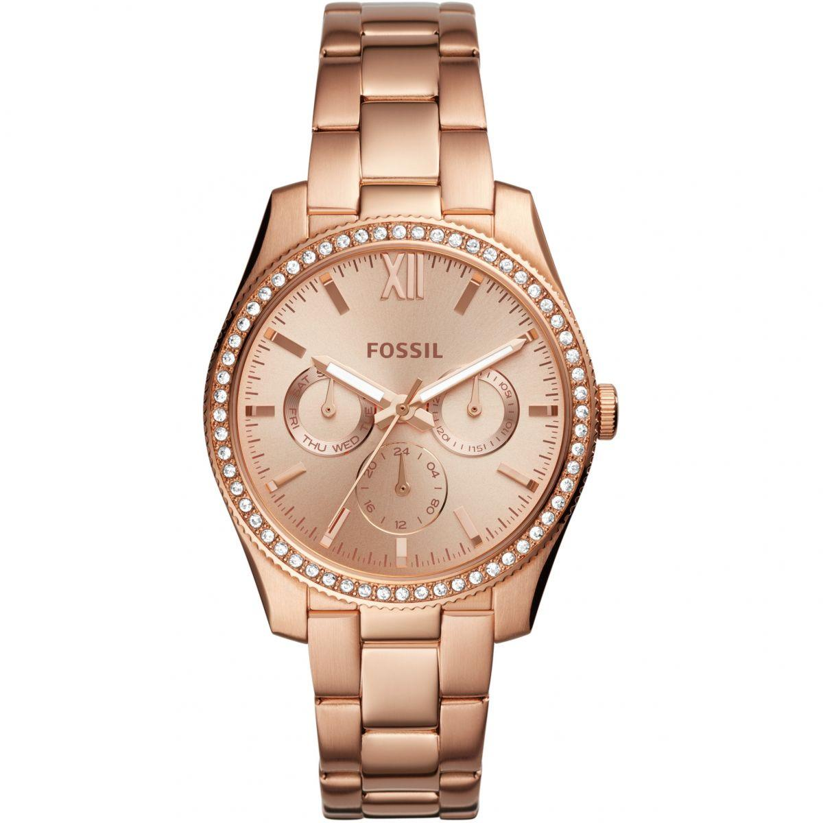 9755623cf2a FOSSIL ES4315 Stainless Steel Analogue Watch For Women - Rose Gold