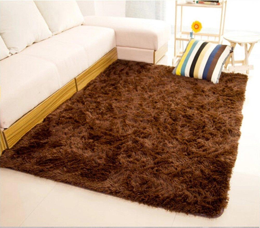 Shaggy Anti-skid Carpets Rugs Floor Mat/Cover 80x120cm (Brown) (MY