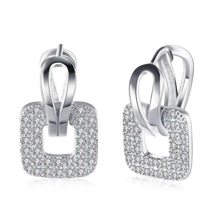 UR KZCE146 Trendy Cubic Zirconia Earrings Square Ear Clip with White Rhinestones