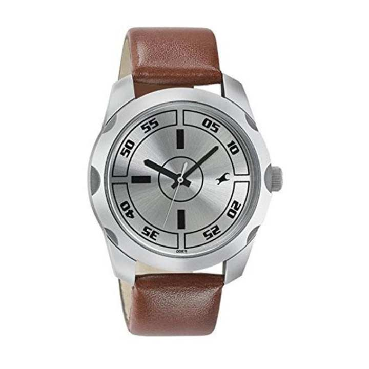 1584SL03 Silver and Brown Leather Analog Watch for Men