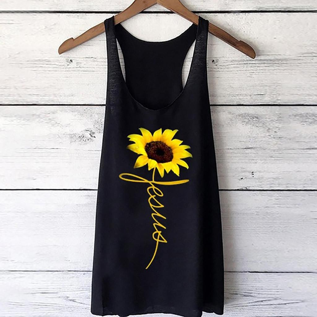 Tops & Tees Women's Clothing Womens Print Vest Casual Loose Top Sleeveless Tank Sport Pullover Tunic Top