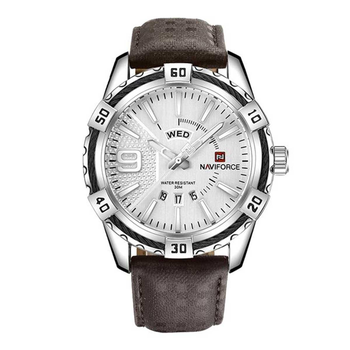 Naviforce NF9117 - Coffee PU Leather Analog Watch for Men - Silver & Coffee