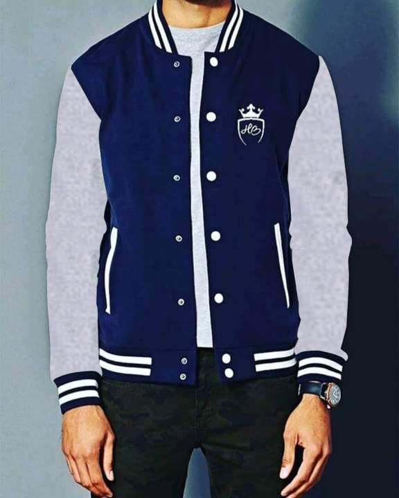 Grey and Navy Blue Jacket for Men