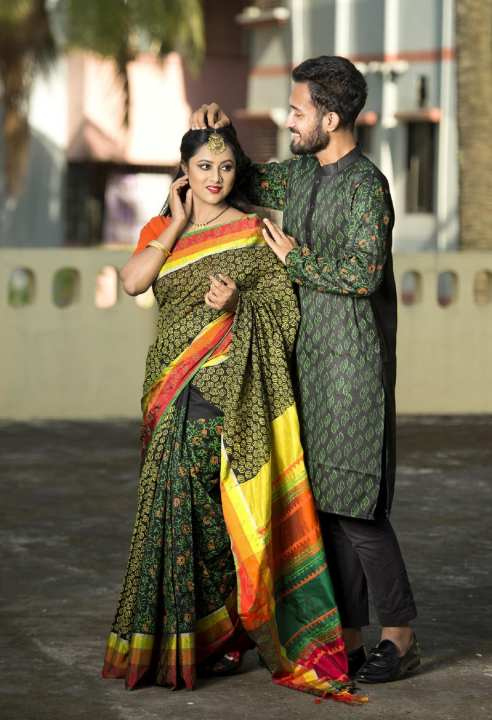 Combo of black saree and panjabi for Couple