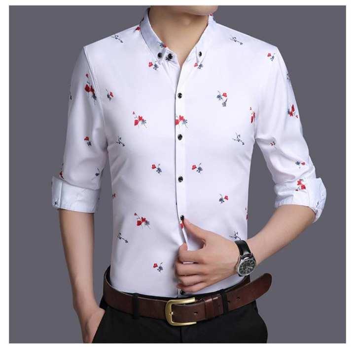 WHite Flower Print Causal Shirt For man