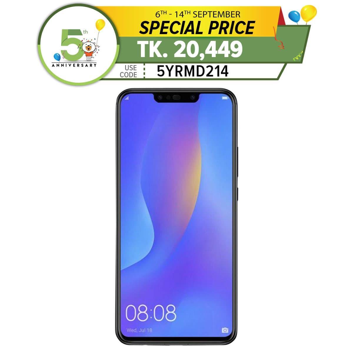 Huawei Nova 3i Smartphone 6 3- 4 GB + 128 GBFour AI Camera16MP+2MP & 24MP +  2MP - Black