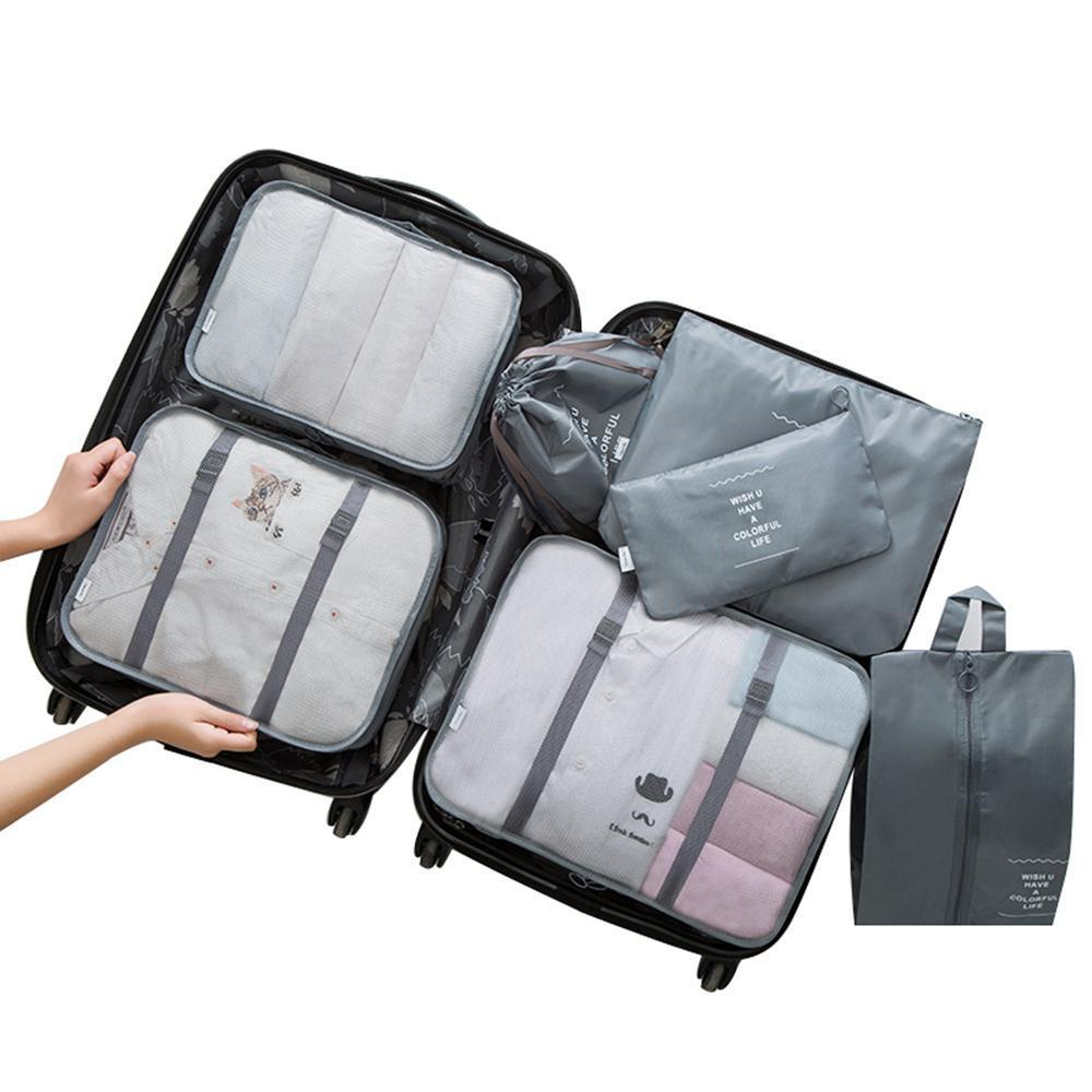fa7db2ba7357 7 pcs clothing storage bags Luggage Packing Organizers Packing Cubes Set  under bed storage cubes with zips for Travel