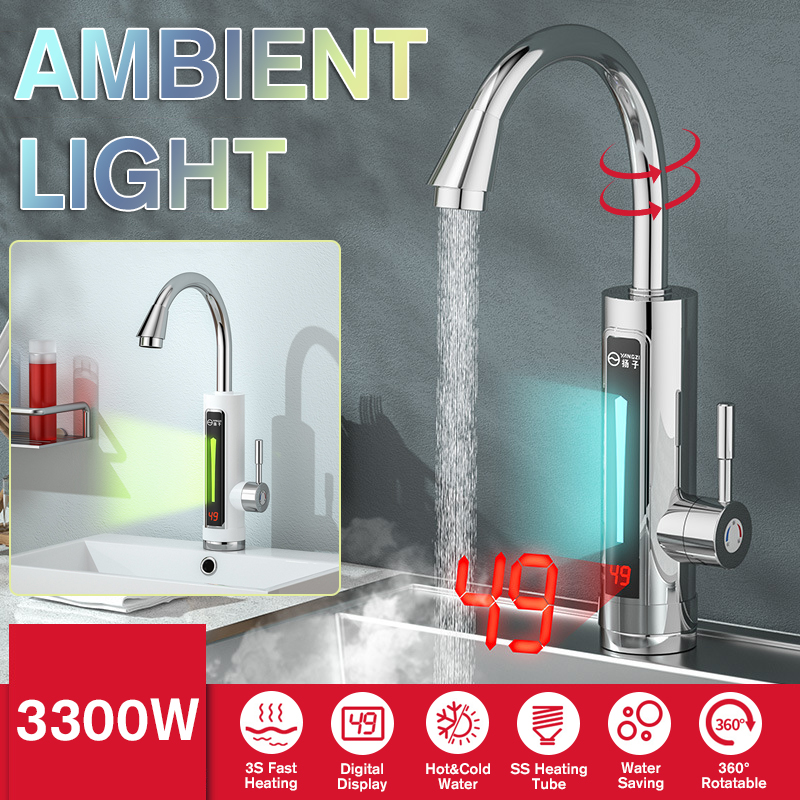 330w Digital Display Electric Kitchen Water Heater Tap Instant Hot Water Faucet With Led Ambient Light Instant Hot Water Tap Silver Buy Online At Best Prices In Bangladesh Daraz Com Bd