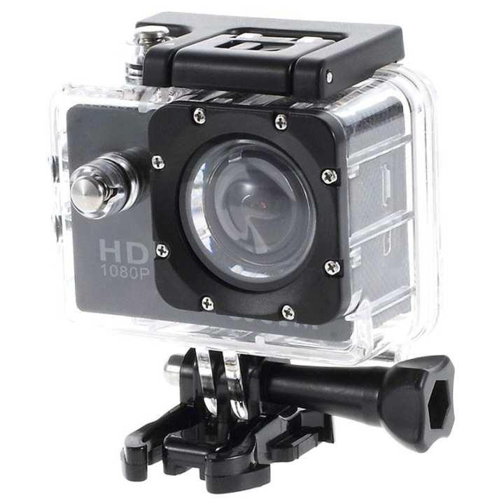 Full HD 1080P Sports Action Waterproof Camera 12MP - Black