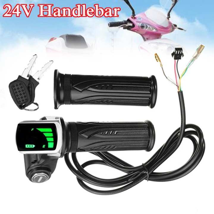 24V LCD Twist Throttle Battery Indicator Power ON OFF For Scooter Electric Bike