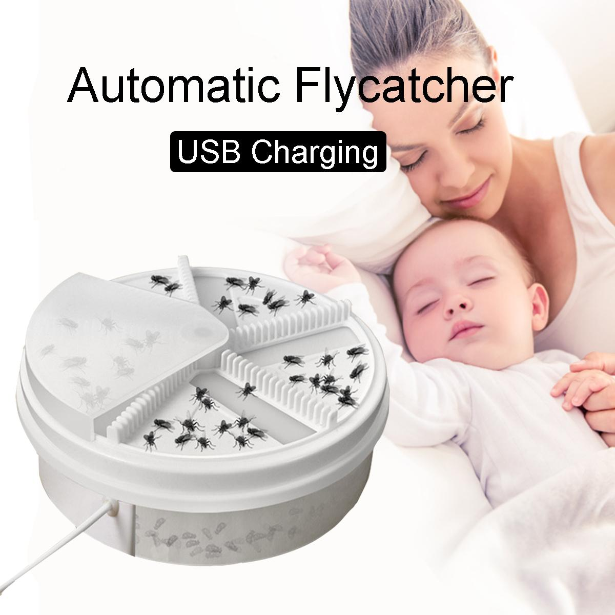 Automatic Flycatcher Electric Rechargeable Fly Trap Pest Device Insect  Catcher Indoor Mosquitoes Insects Mosquito Killer for Kids Baby