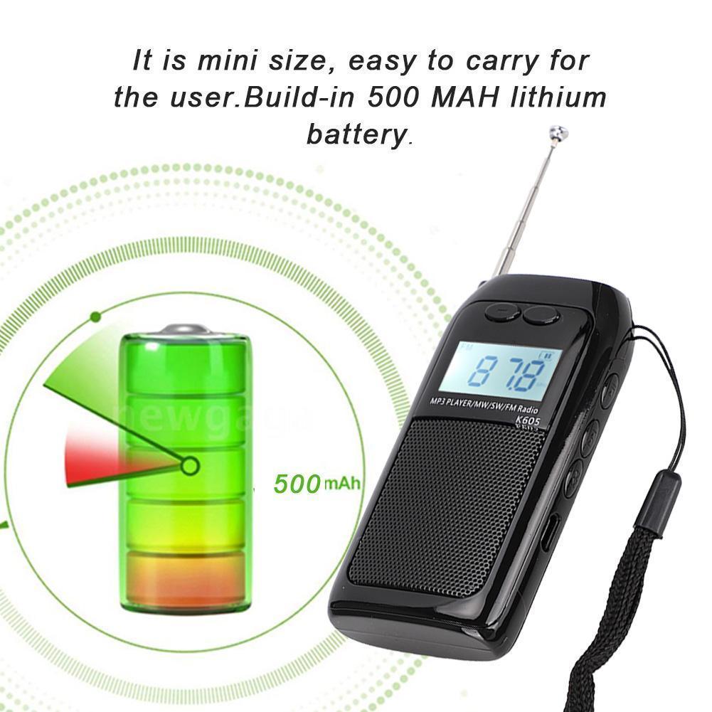 Mini FM Radio PocFM MW Radio Receiver Digital Tuning Stereo MP3 Music Player