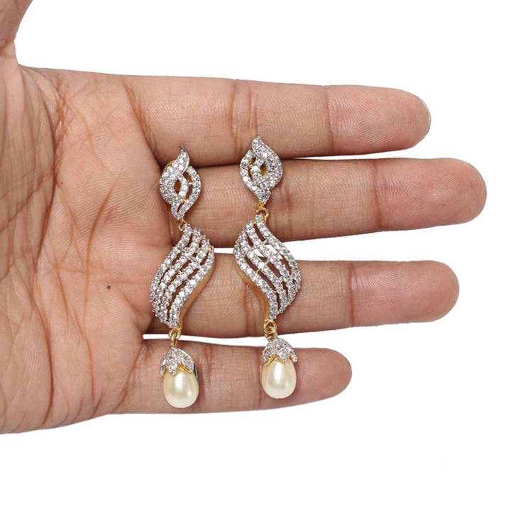 Gorgeous Earrings with American Diamonds cut stone
