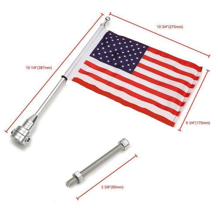 Motorcycle Rear American USA Flag Pole Decoration for Harley XL883 1200 X48  Kit Type:Black pole + flag Quantity:2 sets