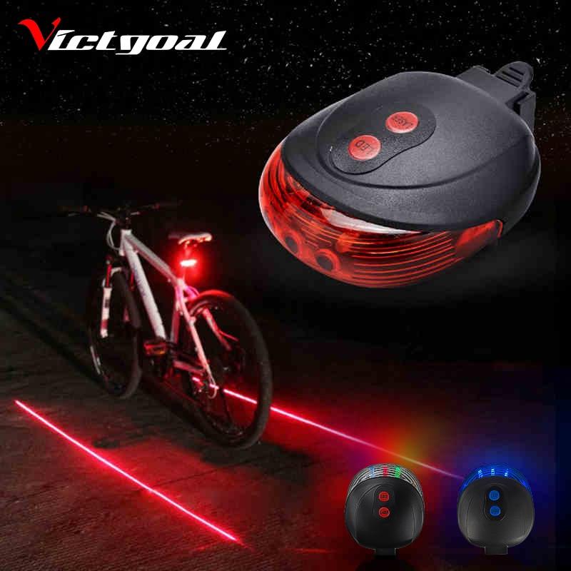 Bicycle Cycling Bike Rear Tail Safety Warning 5 LED 2 Laser Flashing Lamp Light