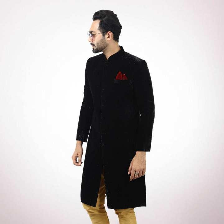 Black Velvet Wedding Sherwani For Men