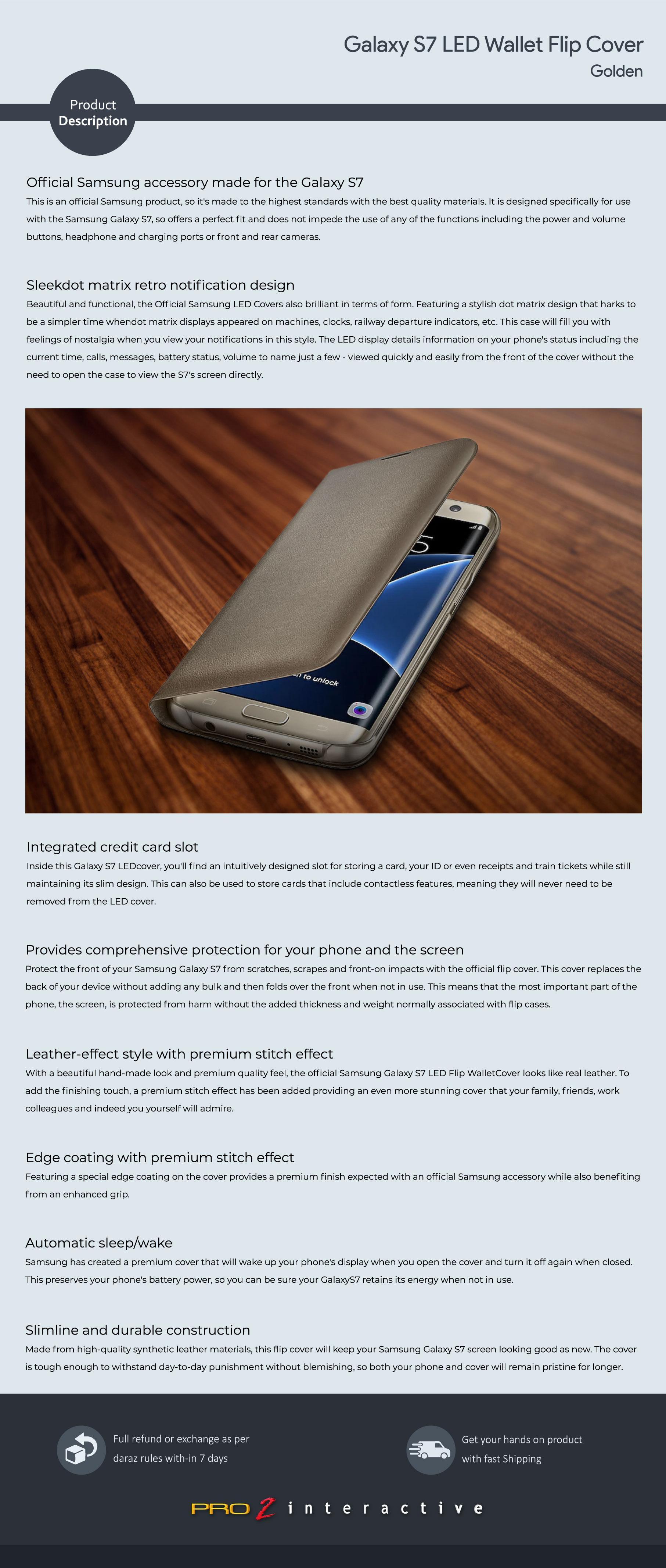 newest d52da 015ad Galaxy S7 LED Wallet Flip Cover – Golden