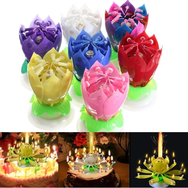 Double Candles Musical Lotus Flower Rotating Happy Birthday Party Gift Lights Blue