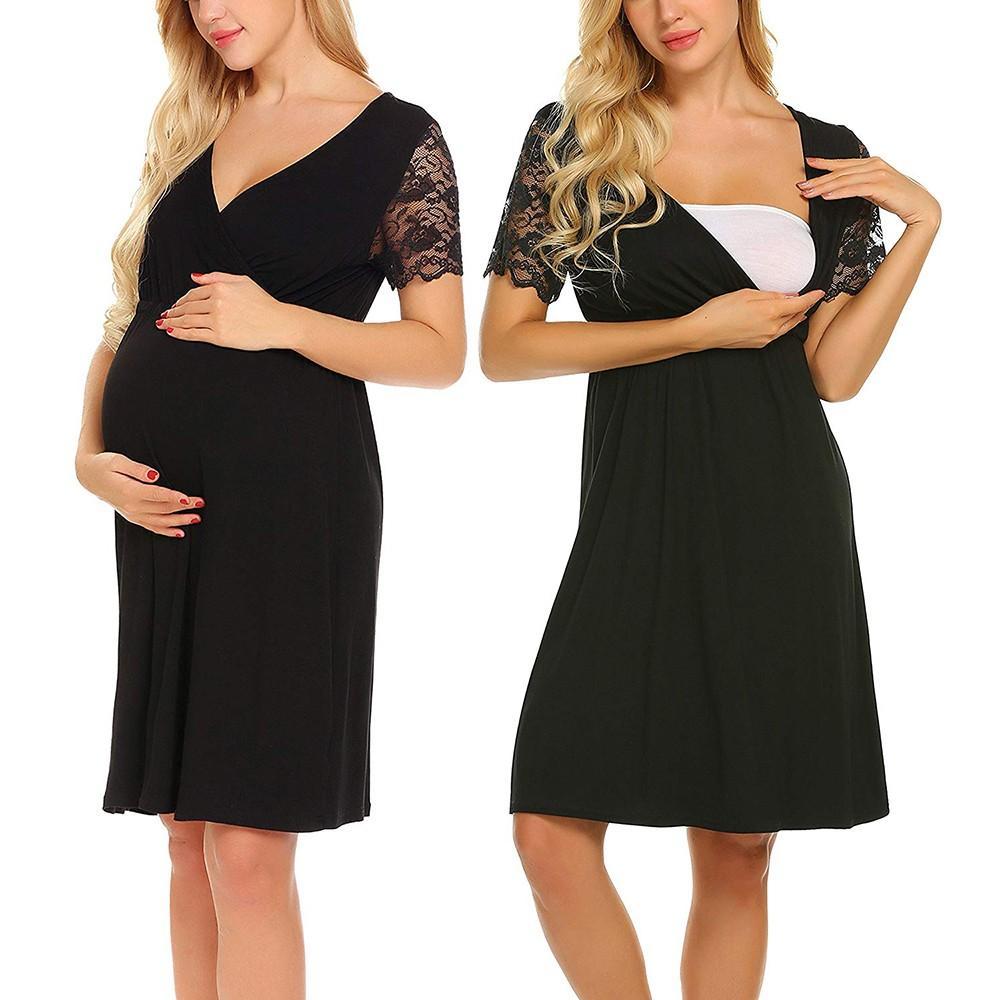 0c6b12b469343 Pregnant Womens Nursing Nightgown Pregnancy Dress Lace Splice Maternity  Dress