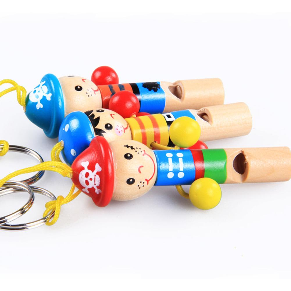 Children Cute Cartoon Wood Hanging Pirate Whistle Key-chain Musical  Instrument