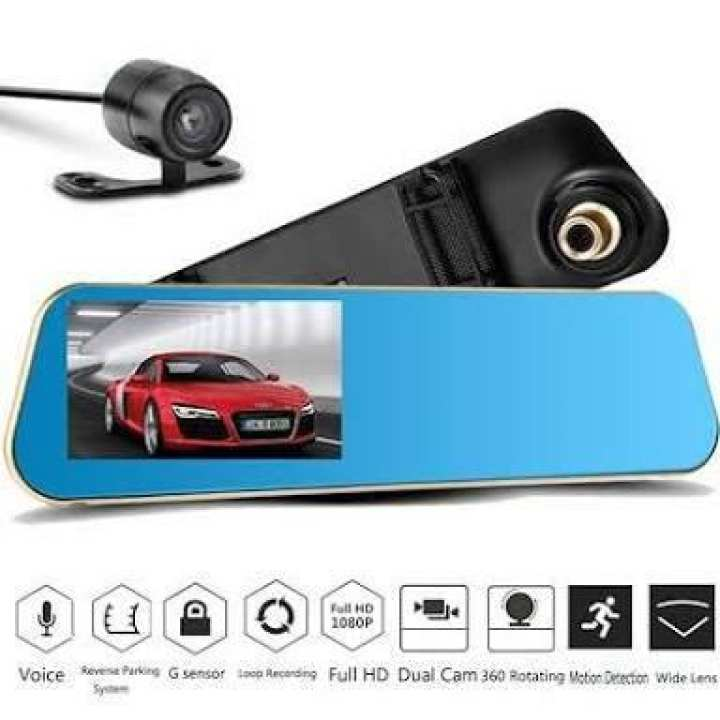 car rearview mirror DVR HD dual lens video recorder camcorder vehicle dash cam