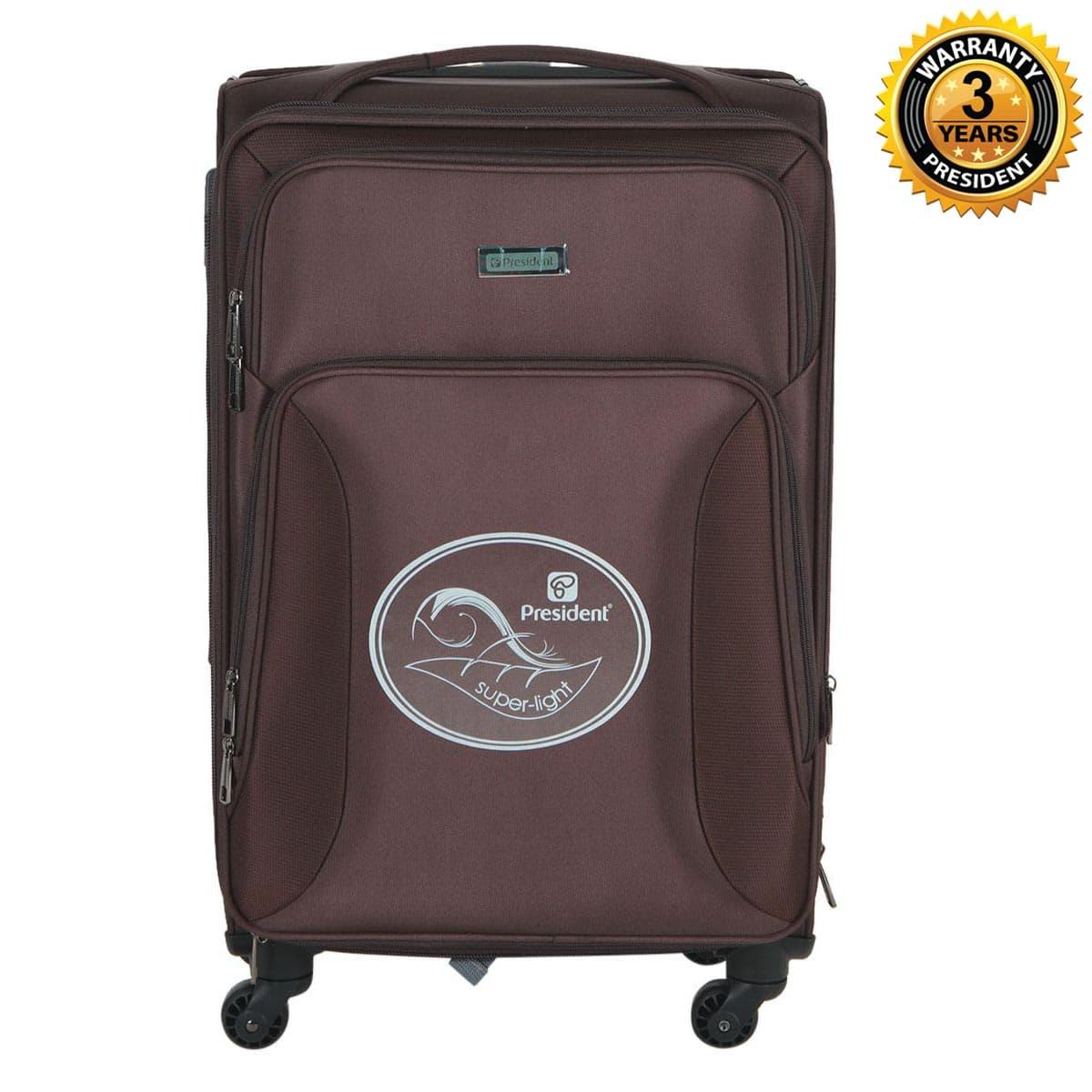 9bdcbace26aa PRESIDENT 24 Inch Carry On Trolley Bag Softside Spinner Luggage 4-Wheels  Suitcase Built-in YiF TSA Lock -COFFEE