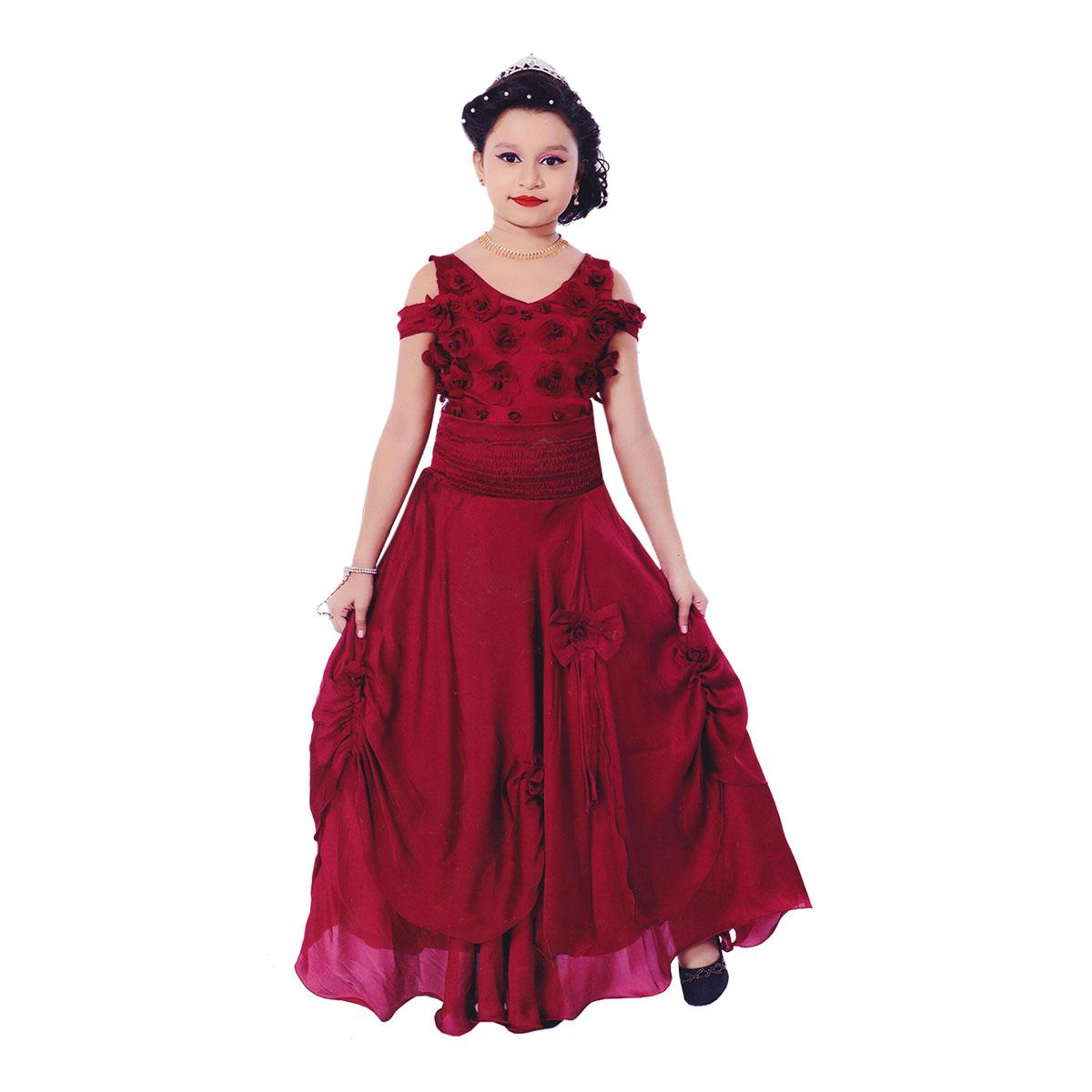 fda6eb12942 Exquisite Short Sleeve Maroon Flower Girls Formal Wedding Dresses Kids