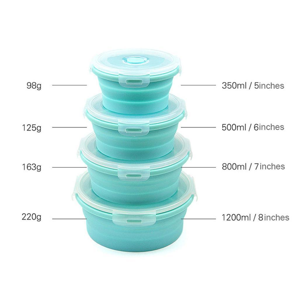 265fb0e722bb 4 Pcs Round Portable Food Storage Silicone Folding Box, Telescopic Folding  Silicone Lunch Box For Outdoor Camping Picnic, 350ml/500ml/800ml/1200ml