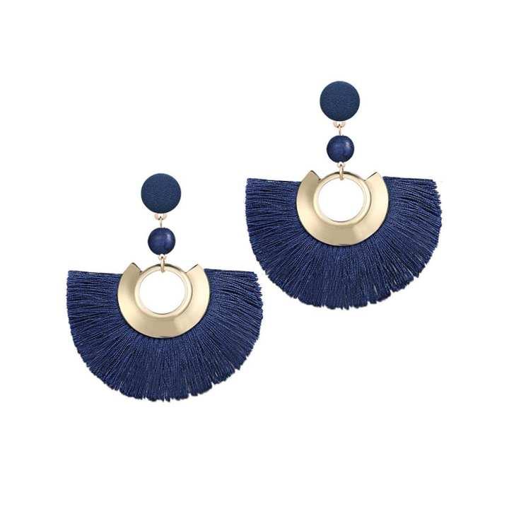 Valentines Day Special Big Tassel Drop Earrings For Women - Dark Blue