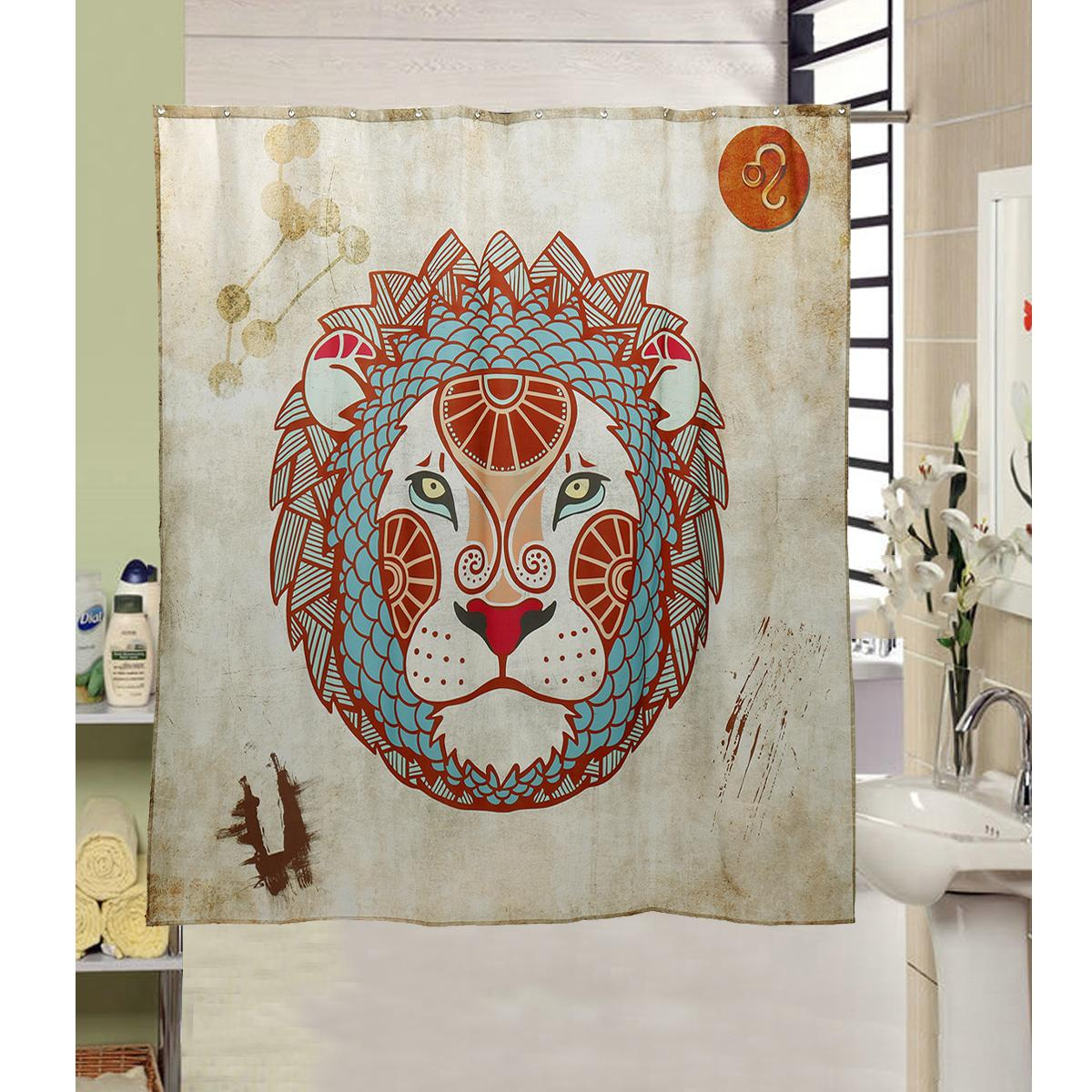 Special Offer Modern Lion S Head Waterproof Shower Curtain Hooks Peva Polyester Fabric Extra Long Wide 180x180cm 71x 71