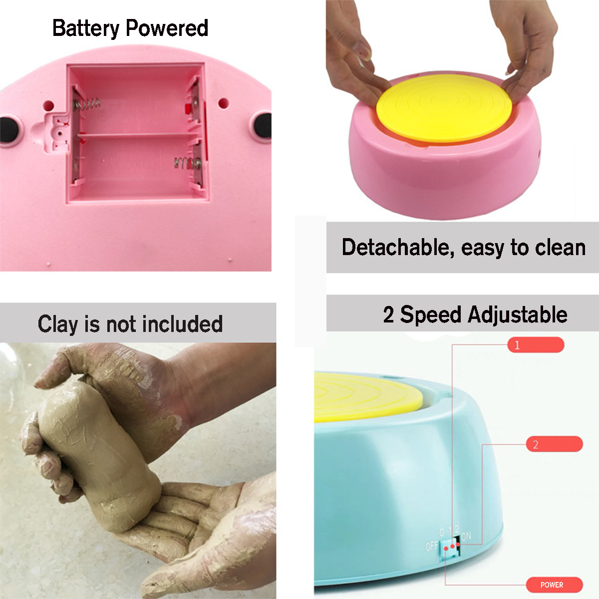 Electric Pottery Wheel Ceramic Machine Kids Diy Tools Diy Ceramic Art Tool Clay Making Toy Green Buy Online At Best Prices In Bangladesh Daraz Com Bd