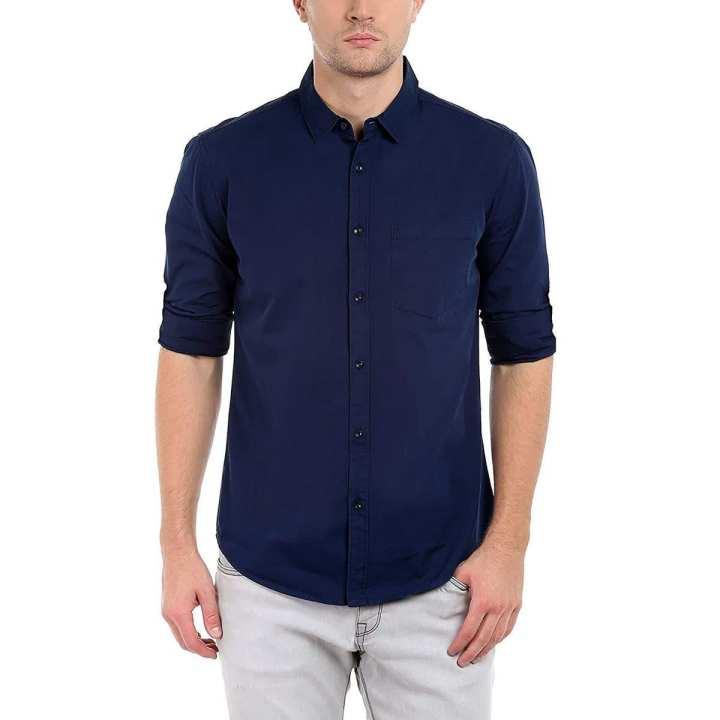 Deep Blue Cotton Shirt for Men
