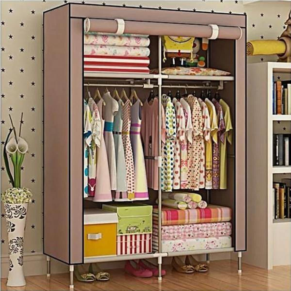 Stainless Steel and Fabric Storage Wardrobe - Coffee