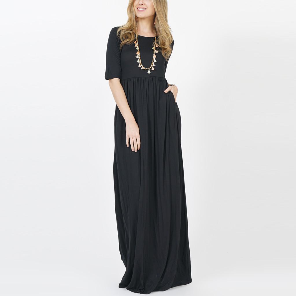 c4a5c00c3f0d Rainbowroom Fashion Women Solid O-Neck Half Sleeve Draped Empire Waist Two  Pocket Maxi Dress