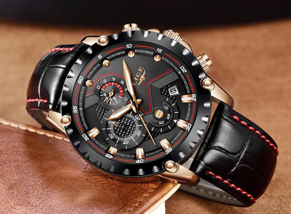 0d795c94fdd LIGE Mens Watches Luxury Quartz Gold Black Watch Men Casual Leather Fashion  Business Waterproof Sport Wrist