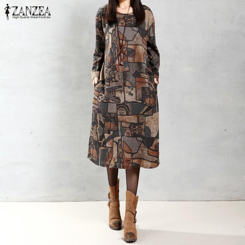 83f2d5cebc6 ZANZEA Autumn Women Vintage Midi Dress Long Sleeve Round Collar Pockets  Geometric Print Casual Loose Robe Vestidos (Coffee)