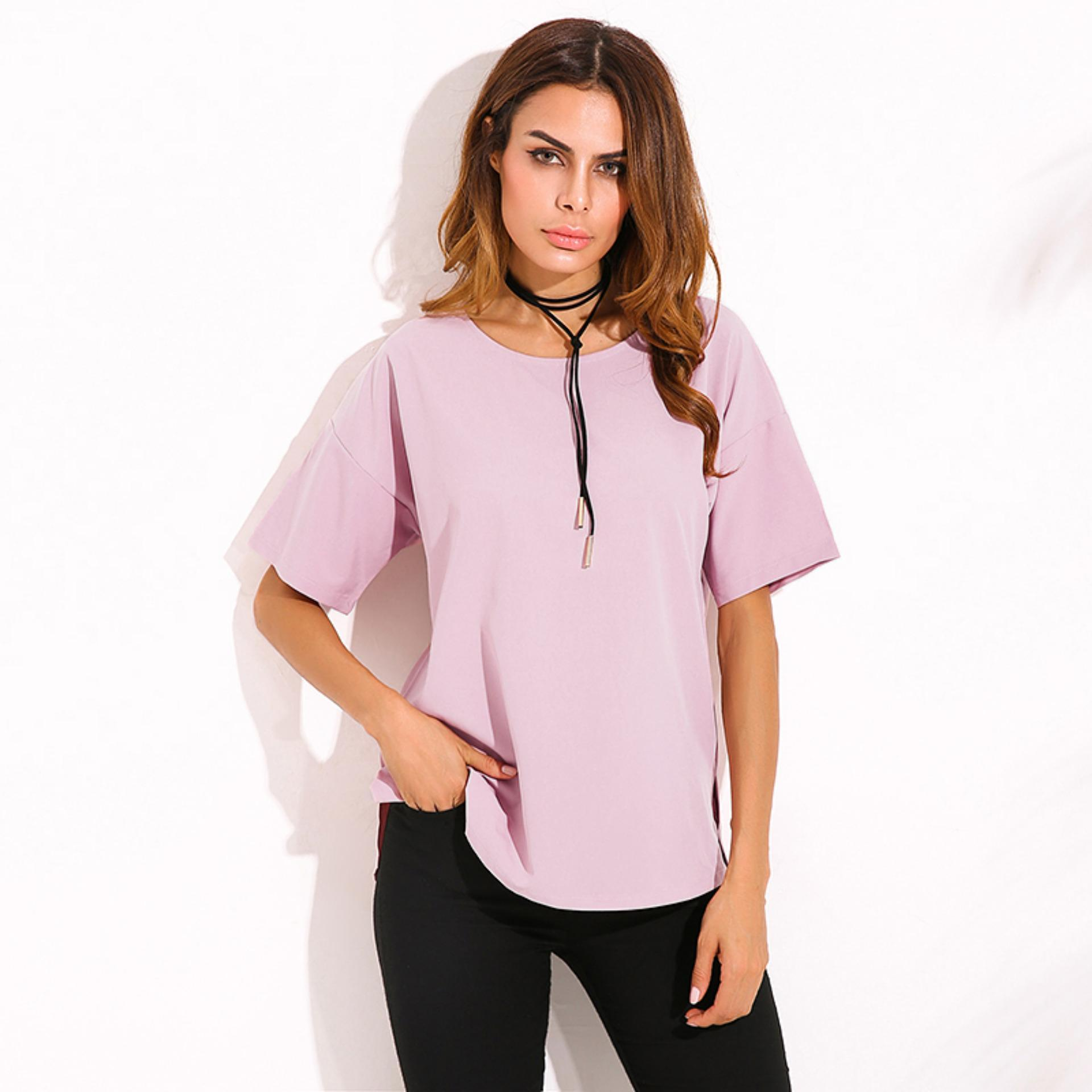 fe21996b03931 Product details of ZANZEA Women Blouses 2018 Summer Shirts O Neck Short  Sleeve Blusas Casual Loose Oversized Tees Tops Plus Size S-5XL Purple Pink