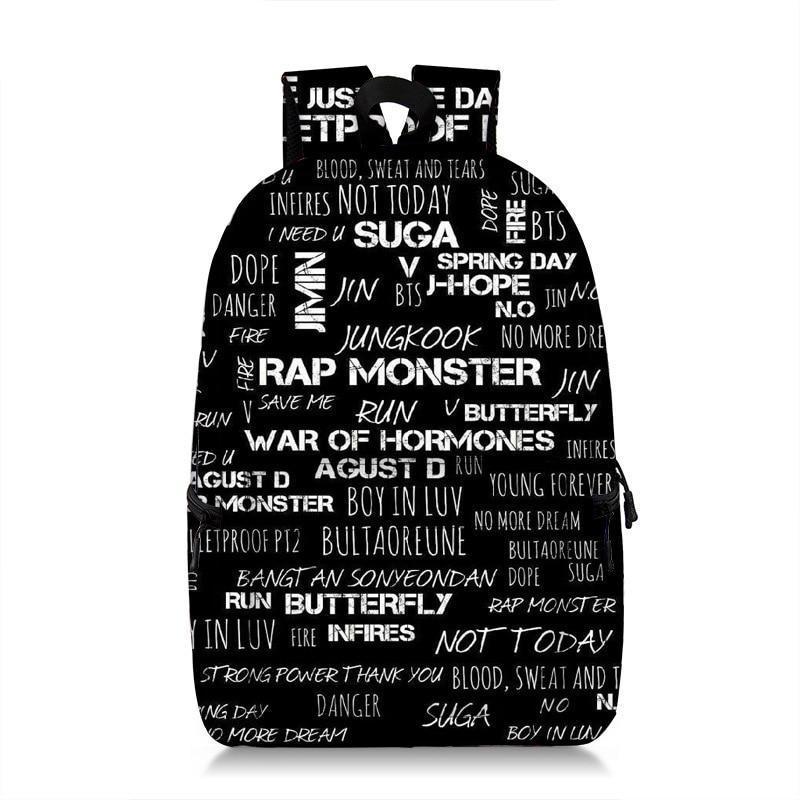 babe6c335e2a KPOP BTS Bangtan Boys Printed Backpack Teen Boys Girls School Laptop Bag