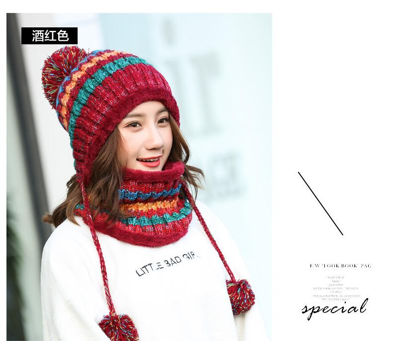 9e30cdf8 Winter Women Cap Knitted Hat Scarf Set Fashion Wool Thickening Hat Female