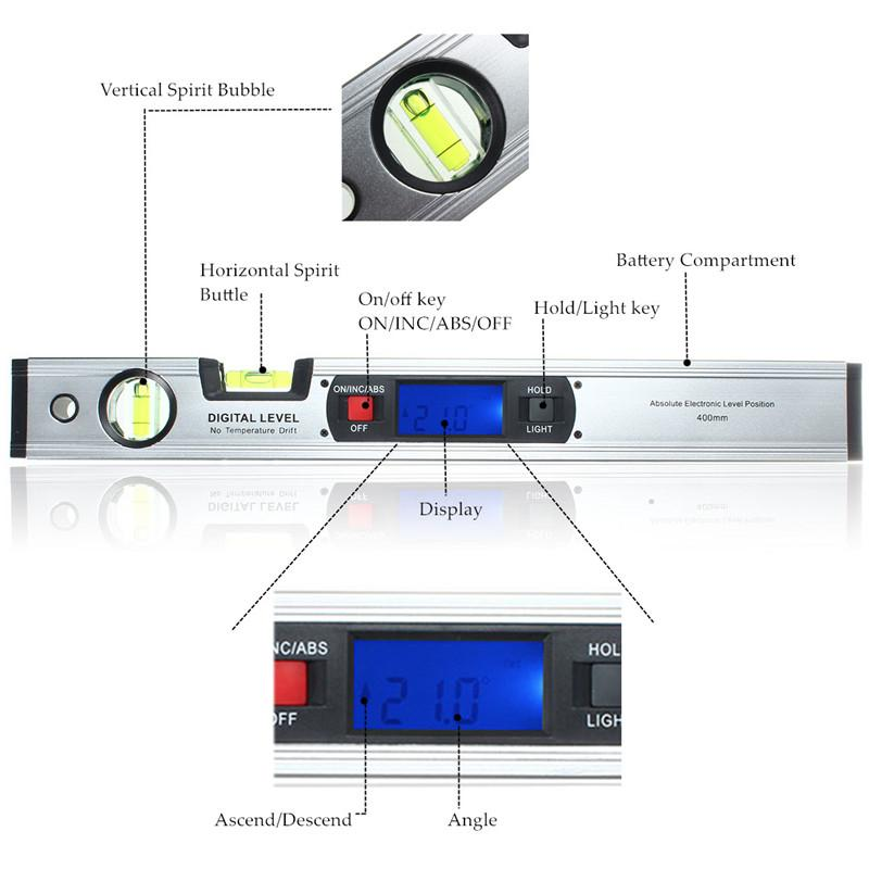 Strong Magnetic Base Digital4 x 90 Degree Level Inclinometer Angle Finder  Quadrant Spirit Level